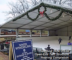 Seasonal Rink Inside Open-End Tent Structure Near Completion